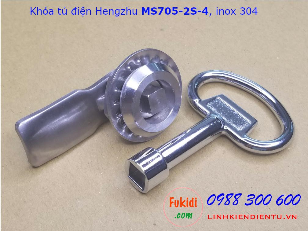 Khóa tủ điện Hengzhu MS705-2S-4 inox 304 đầu khóa hình vuông
