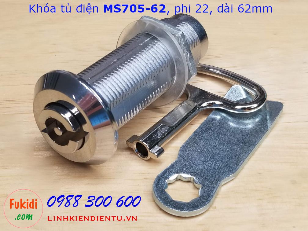 Khóa tủ điện chữ S MS705-62, phi 22mm dài 62mm - MS705-62S