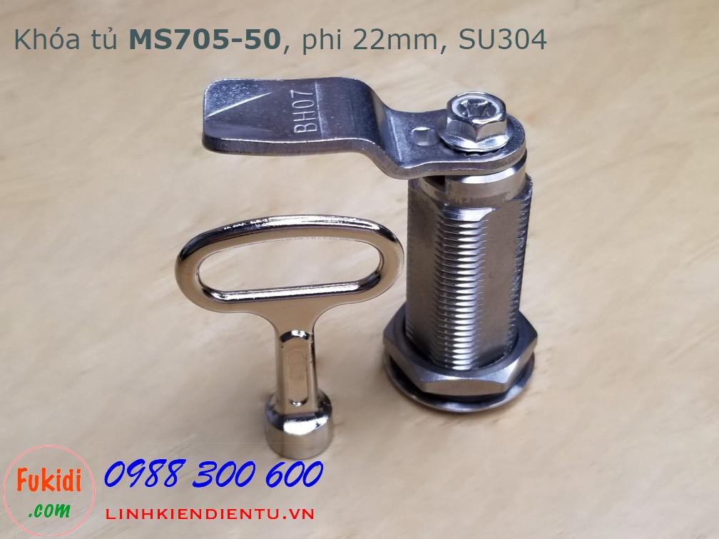 Khóa cửa tủ MS705-50 chất liệu SU304, thân dài 50mm, phi 22mm, cần gạt 45mm