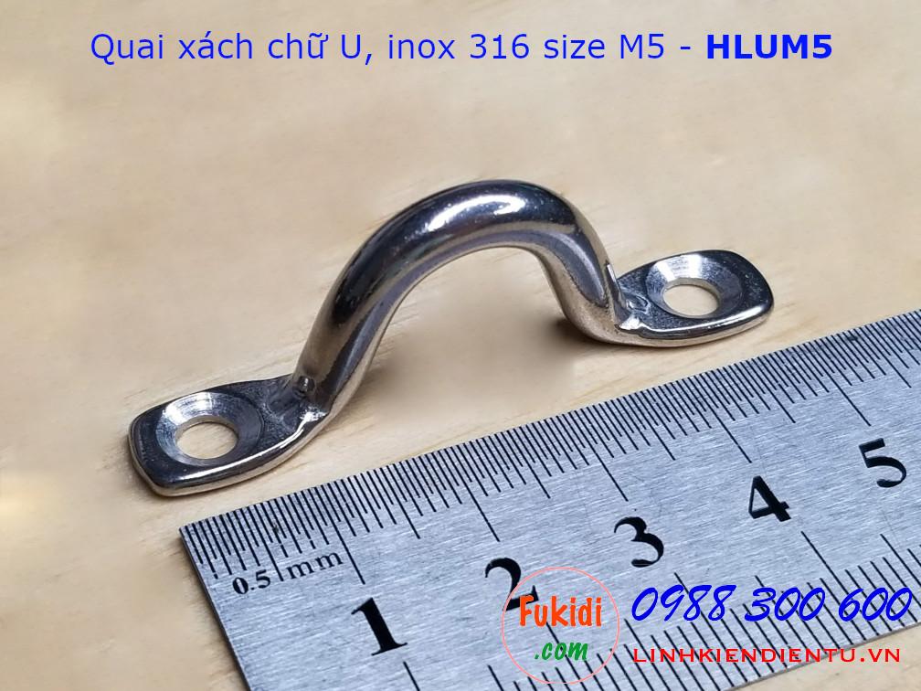Quai xách chữ U M5 inox 316 chiều dài 50mm - HLUM5