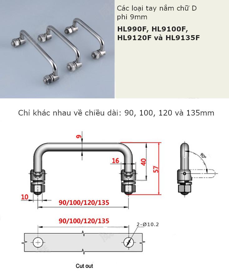 Tay nắm chữ D, inox 304 phi M9 dài 150mm - HL9150F