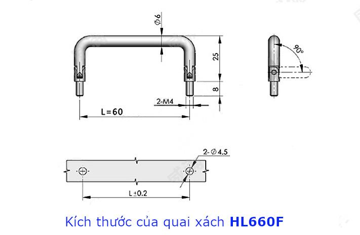 Tay nắm chữ D, inox 304 kích thước 60mm dùng làm quai xách hộp dụng cụ HL660F