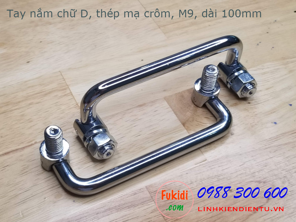 Tay nắm chữ D có thể gập lại, size M9, chất liệu thép mạ crôm, dài 100mm HL9100T