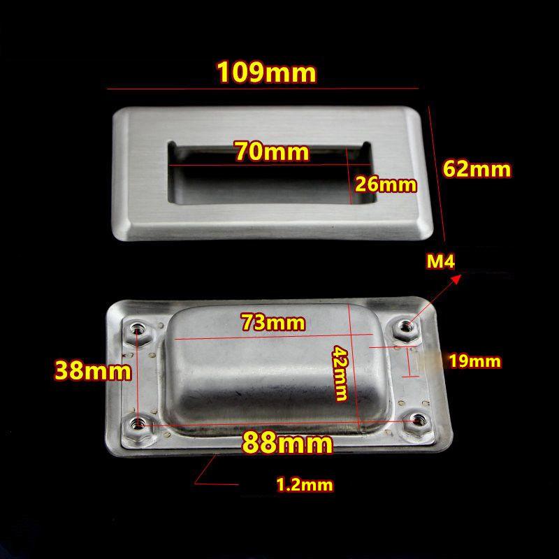 Tay nắm âm dùng làm tay nắm hộc tủ, chất liệu inox 304 size 109x62mm - HLM62