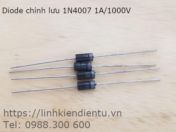 Diode chỉnh lưu 1N4007 1A/1000V dạng chân DO-41, chiều dài 45mm