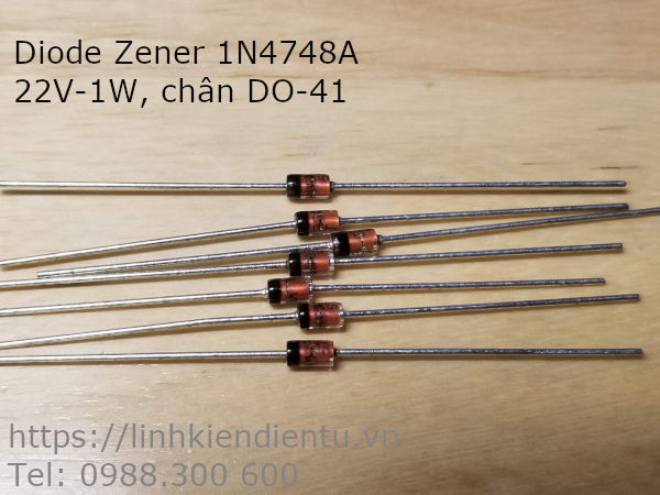 Diode Zener 1N4748A: 22V 1W chân DO-41