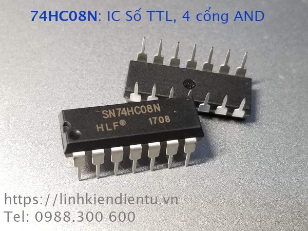 74HC08N IC số TTL, bốn cổng AND, chân DIP-14