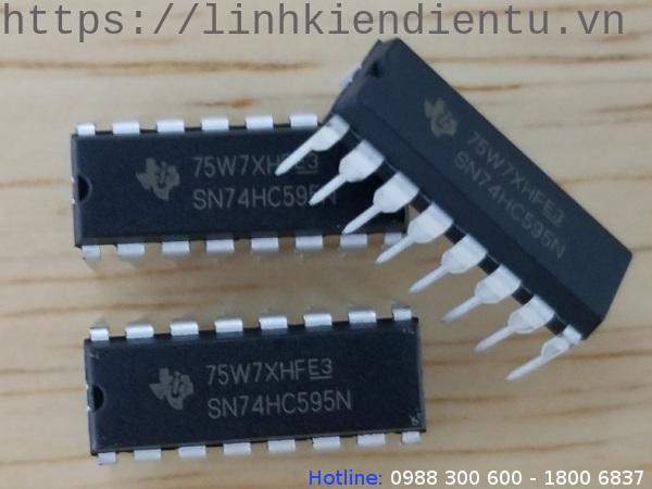 SN74HC595N: Thanh ghi dịch 8-bit với ngõ ra 3 trạng thái