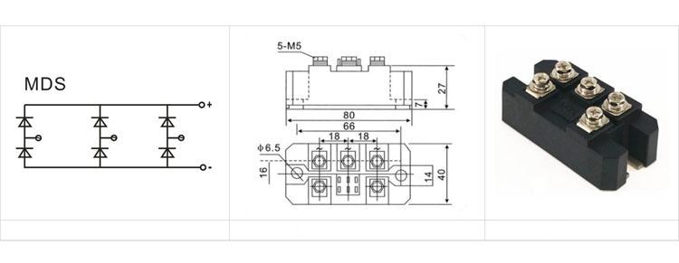 Diode cầu chỉnh lưu ba pha 100A/1400V MDS100-14