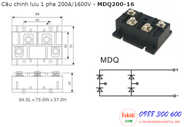 Diode cầu chỉnh lưu một pha 200A 1600V - MDQ200-16