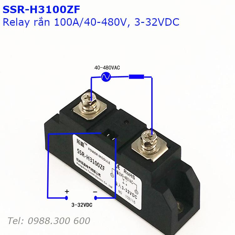 Relay rắn chuẩn công nghiệp 100A loại DC điều khiển AC SSR-H3100ZF