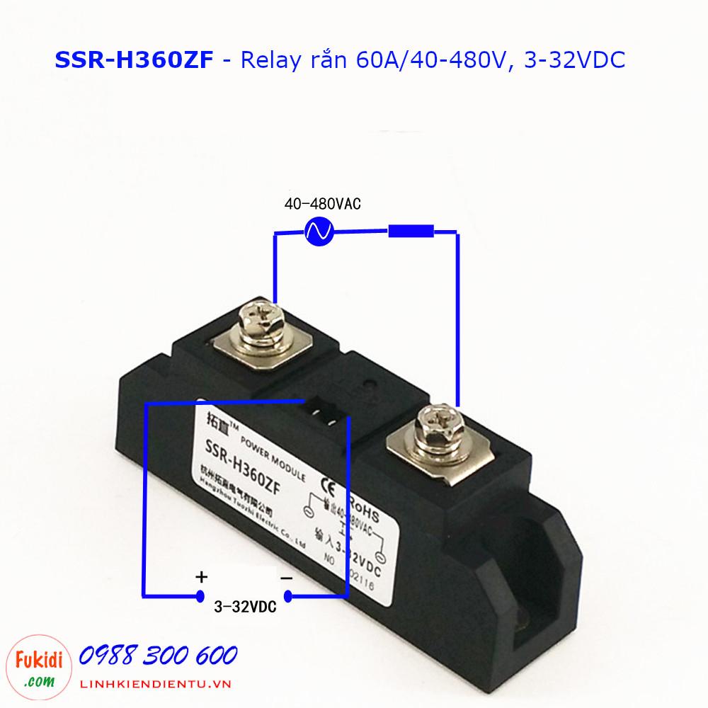 Relay rắn một pha chuẩn công nghiệp 60A/40-480VAC loại DC điều khiển AC SSR-H360ZF