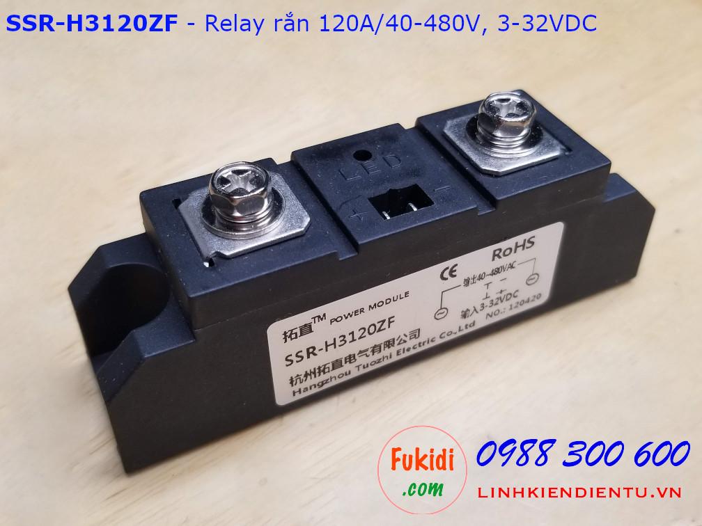 Relay rắn một pha chuẩn công nghiệp 120A/40-480VAC loại DC điều khiển AC SSR-H3120ZF