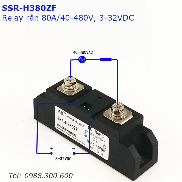 Relay rắn chuẩn công nghiệp 80A loại DC điều khiển AC SSR-H380ZF