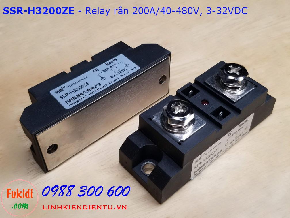Relay rắn một pha 200A loại DC điều khiển AC 40-480VAC  SSR-H3200ZE