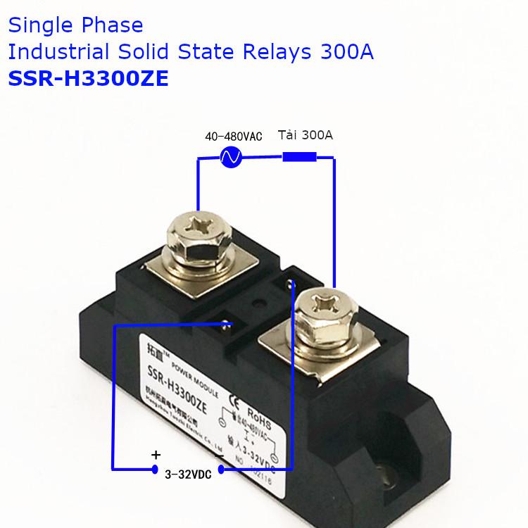Relay thể rắn một pha chuẩn công nghiệp 300A loại DC điều khiển AC 300A SSR-H3300ZE