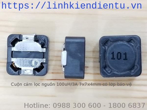 Cuộn cảm lọc nguồn 100uH/3A 7x7x4mm có shield