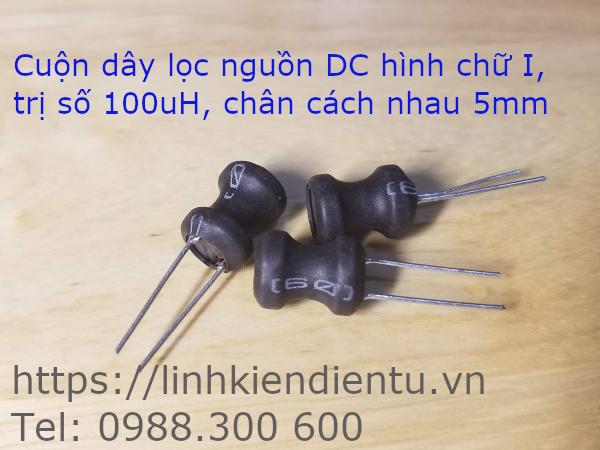 Cuộn dây lọc nguồn DC 100uH, kích thước 8x10mm, chân 5mm