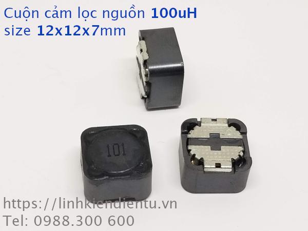 Cuộn cảm lọc nguồn 100uH 12x12x7mm có shield