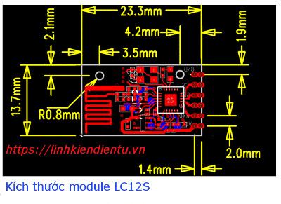 Kích thước thực của LC12S 2.4Ghz UART Module