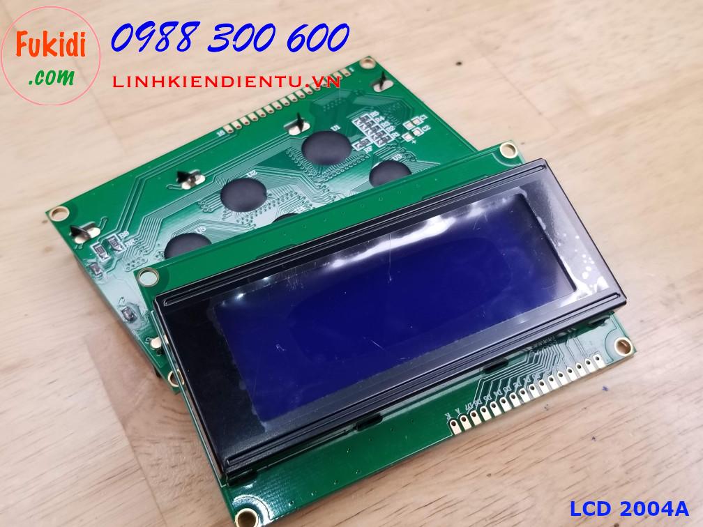 Màn hình LCD 2004A bốn dòng chữ, mỗi dòng 20 ký tự chữ trắng, nền xanh dương