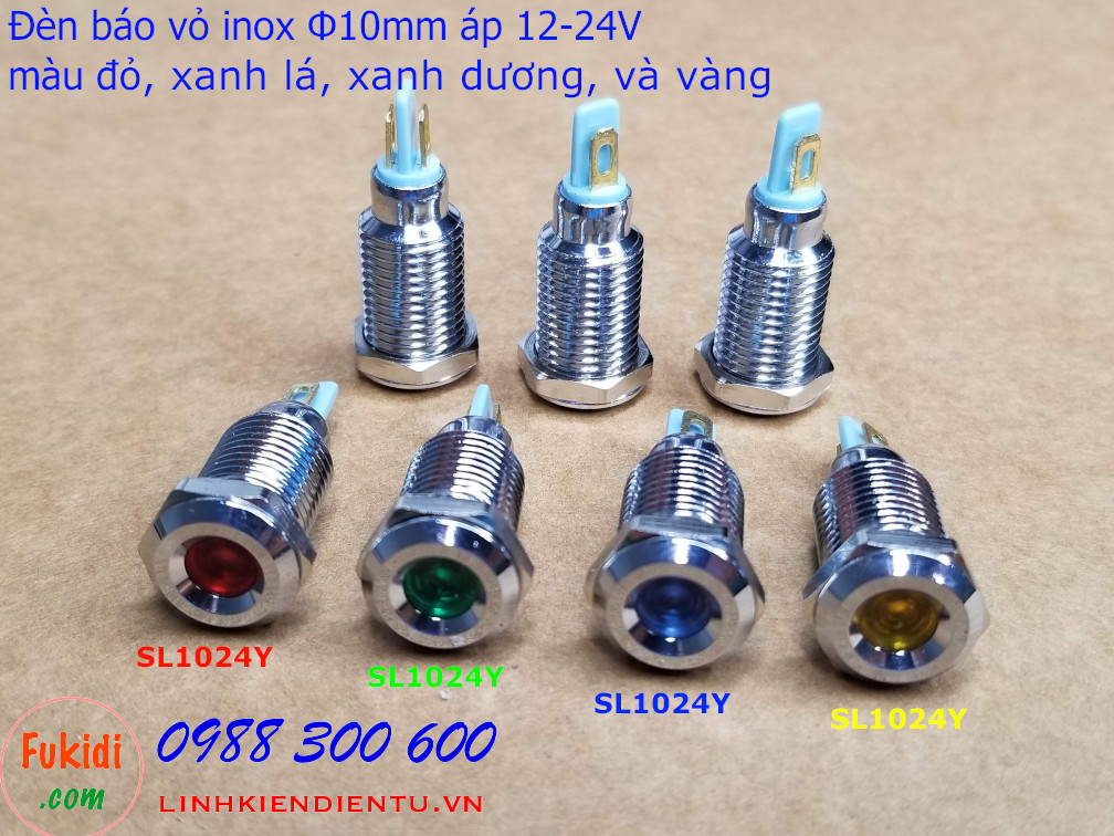 Đèn báo phi 10mm, vỏ inox chống thầm điện áp 12-24v có bốn màu để lựa chọn là đỏ, xanh lá, xanh dương và vàng tương ứng với SL1024R, SL1024G, SL1024B và SL1024Y
