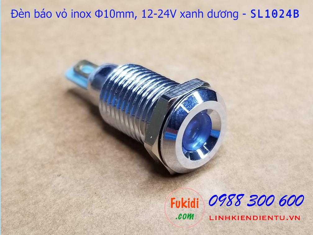 Nhìn tổng thể mặt trước cùa đèn báo tín hiệu phi 10mm 24v mà xanh dương sl1024B