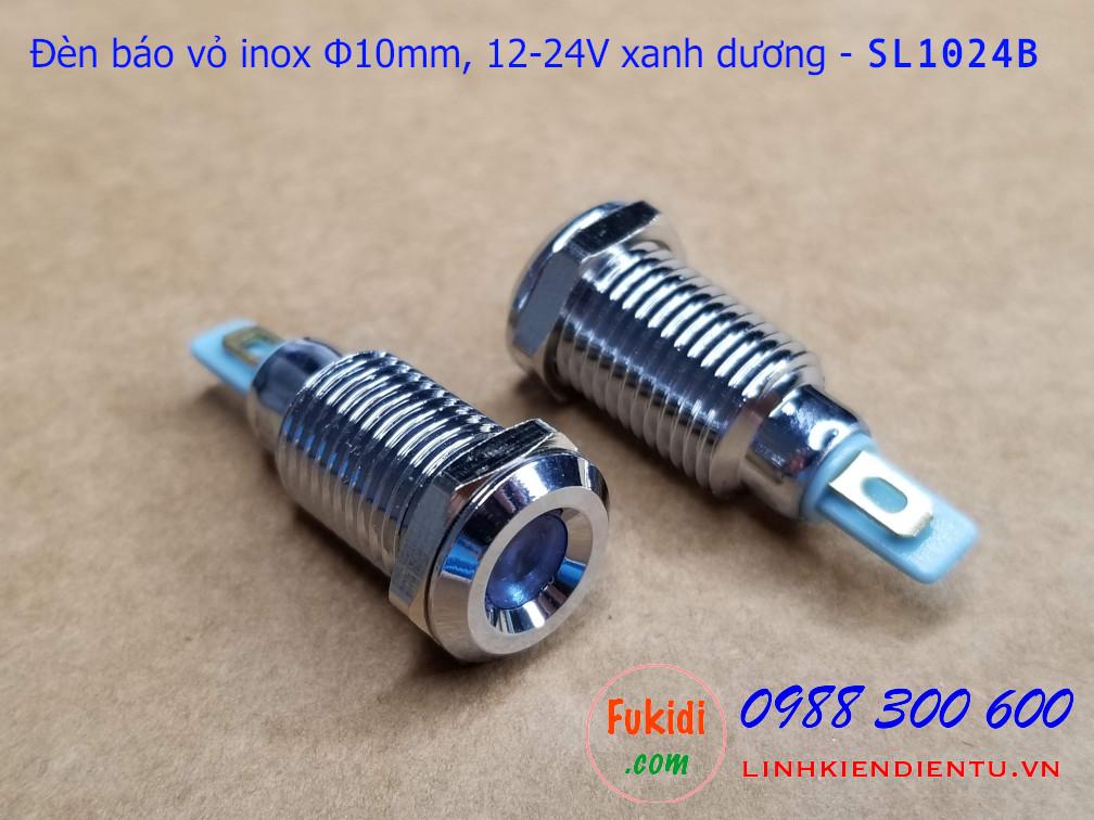 Đèn báo tín hiệu Φ10mm vỏ inox chống thấm, 12-24v màu xanh dương - SL1024B