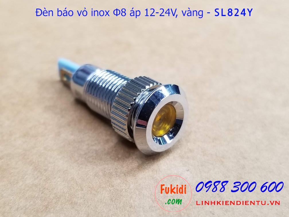 Nhìn tổng quang của đèn báo tín hiệu Φ8mm vỏ inox chống thấm, điện áp 12-24v màu vàng - SL824L