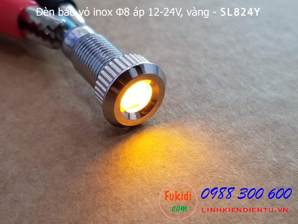 Khi cấp điện cho đèn báo tín hiệu Φ8mm vỏ inox chống thấm, điện áp 12-24v màu vàng - SL824Y