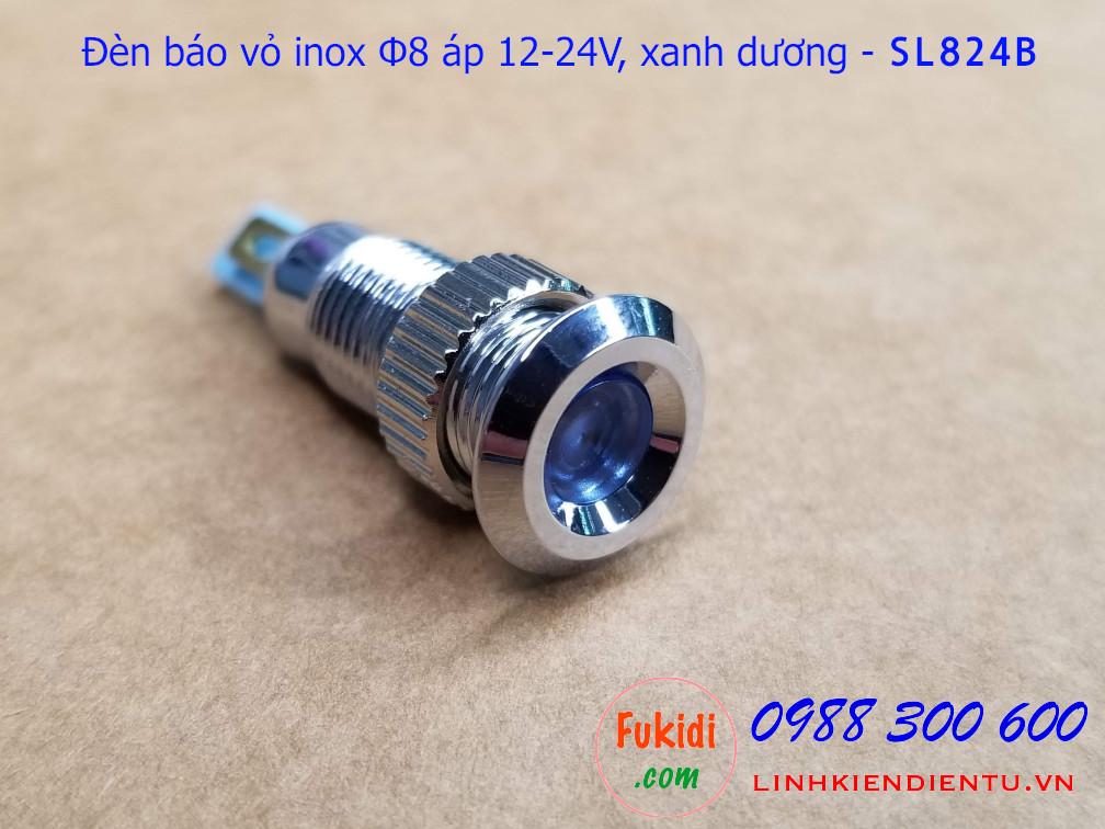 Đèn báo tín hiệu Φ8mm vỏ inox chống thấm, điện áp 12-24v màu xanh dương - SL824B