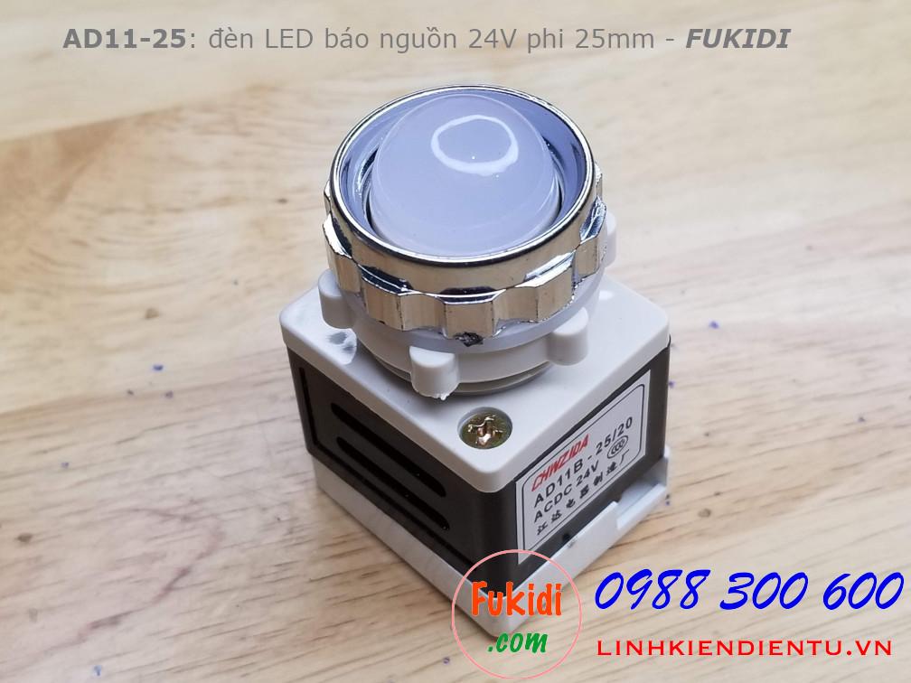 AD11-25 đèn LED báo nguồn phi 25mm điện áp 24V màu trắng