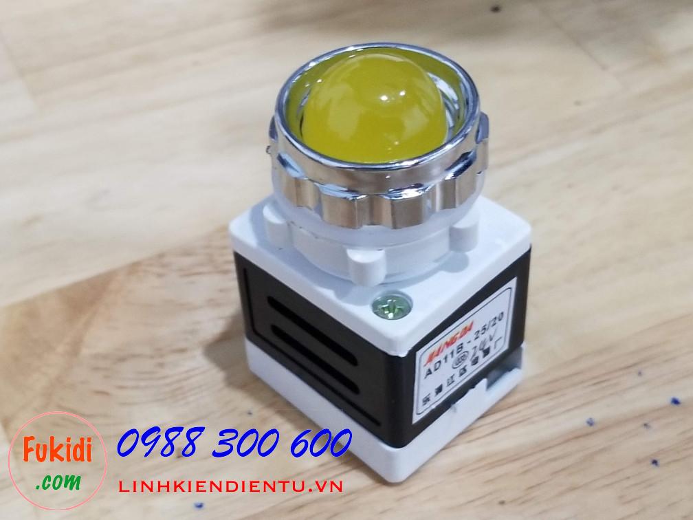 AD11-25 đèn LED báo nguồn phi 25mm điện áp 24V màu vàng