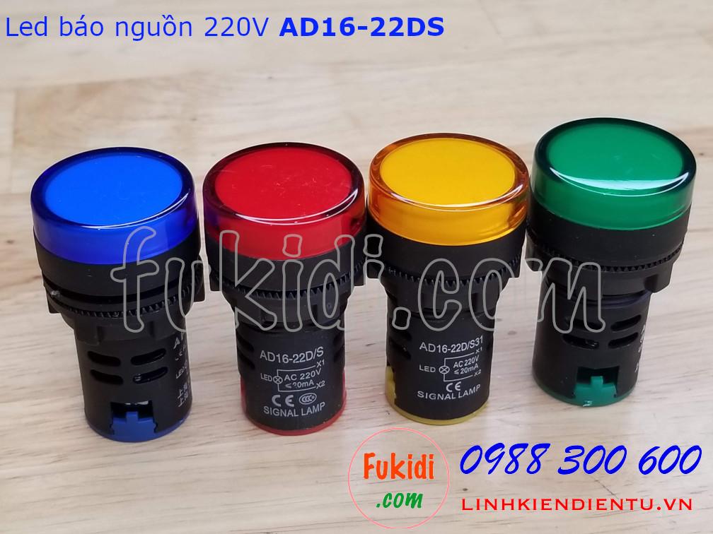 Đèn LED báo nguồn 220V phi 22mm màu xanh lục AD16-22DS