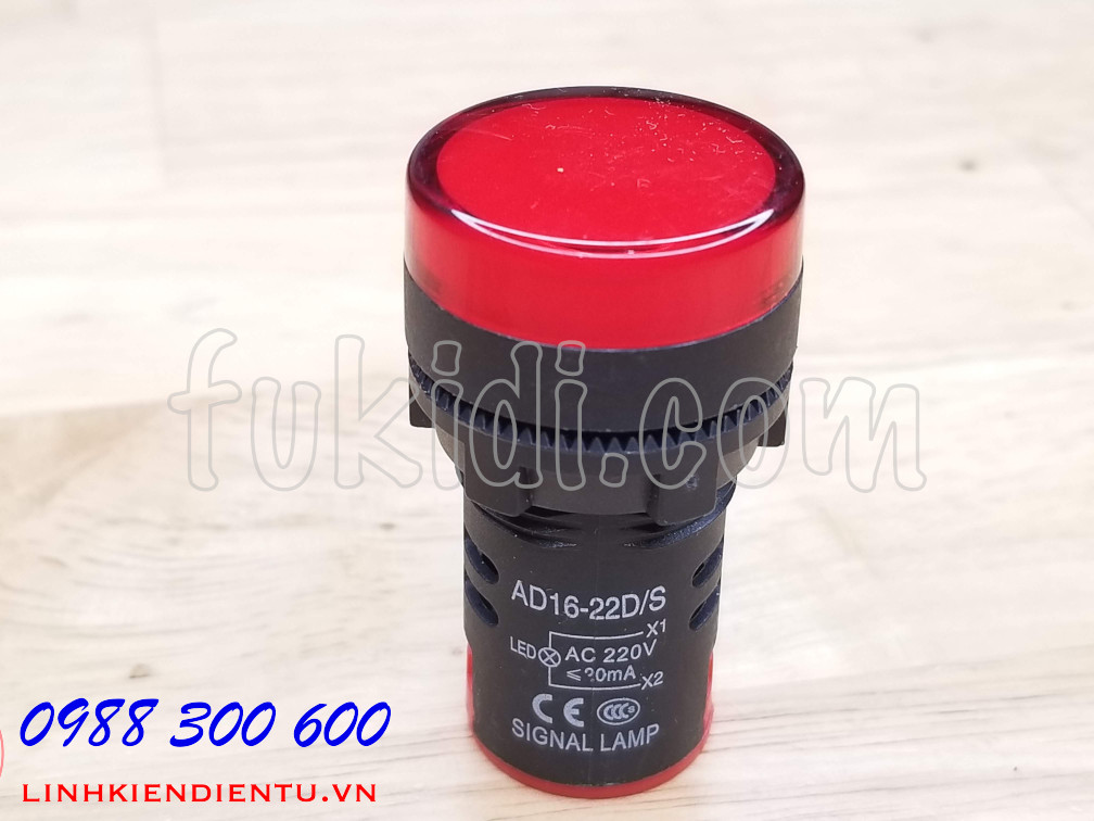 Đèn LED báo nguồn 220V phi 22mm màu đỏ AD16-22DS