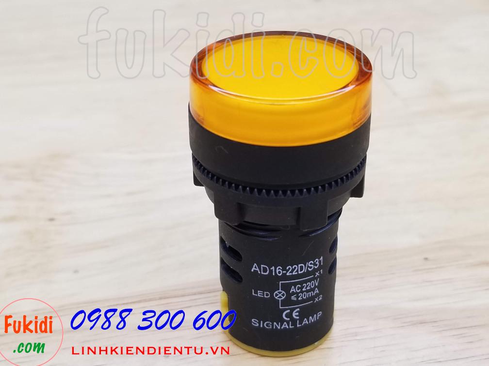 Đèn LED báo nguồn 220V phi 22mm màu vàng AD16-22DS