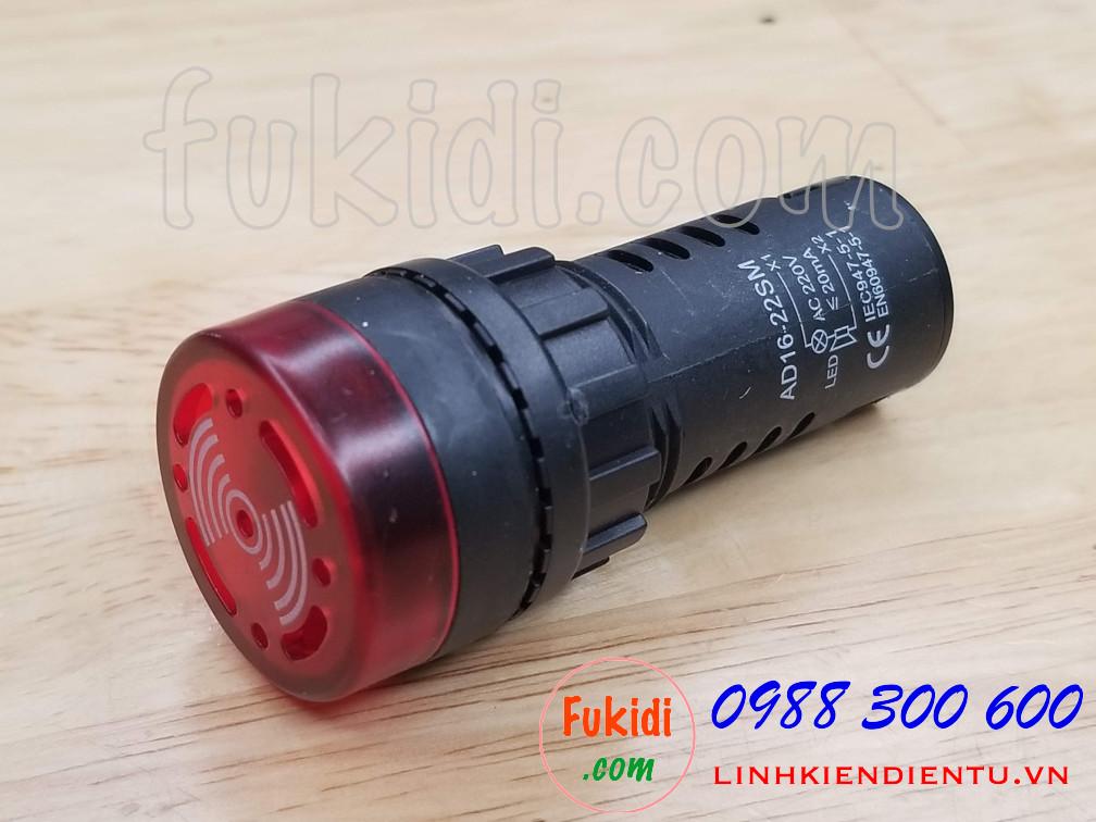 Đèn báo có còi phi 22mm AD16-22SM điện áp 220VAC màu đỏ