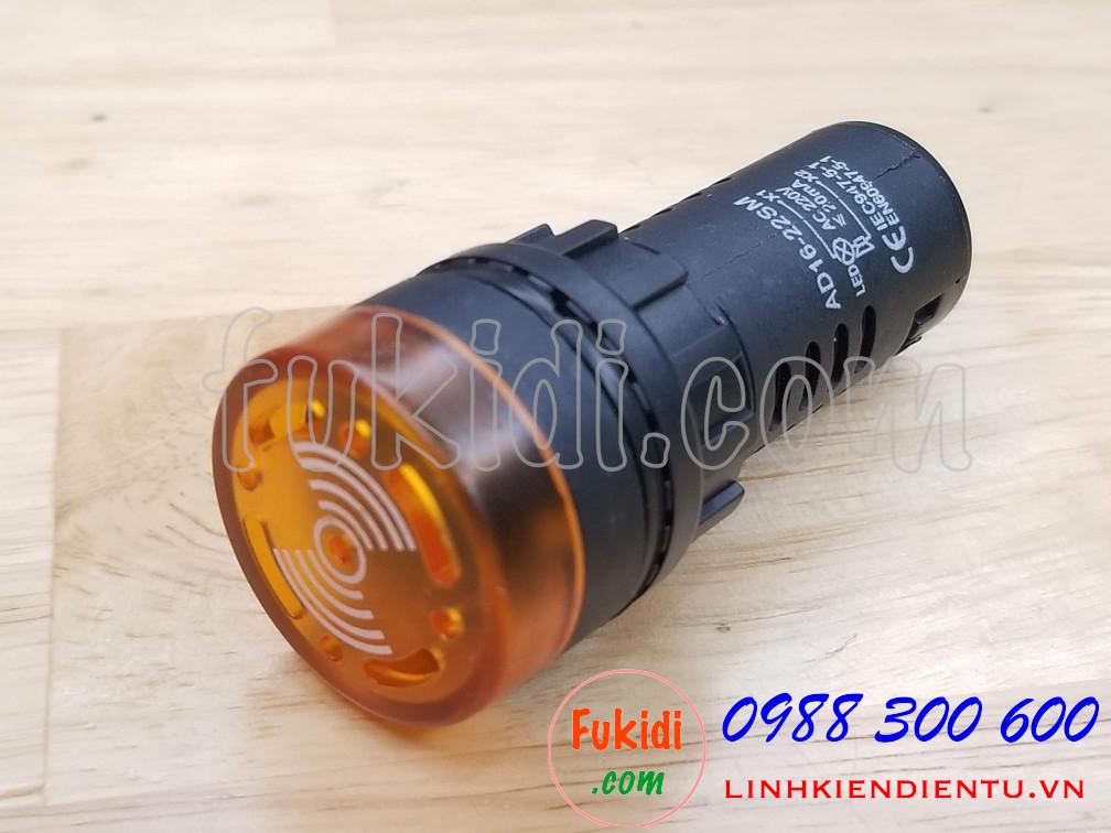 Đèn báo có còi phi 22mm AD16-22SM điện áp 220VAC màu vàng