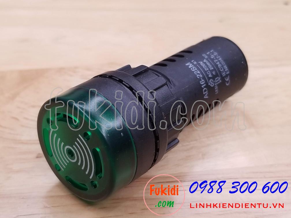 Đèn báo có còi phi 22mm AD16-22SM điện áp 220VAC màu xanh