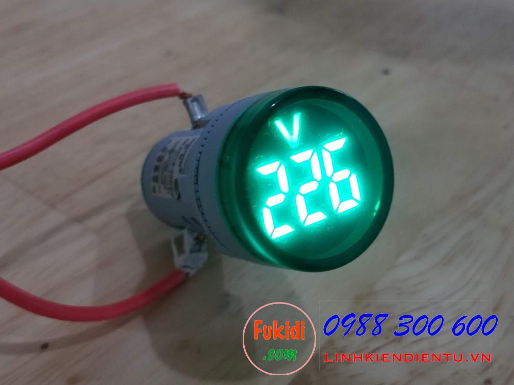 Đồng hồ đo điện áp mini, tầm đo 60-500VAC, phi 22mm model AD16-22DSV