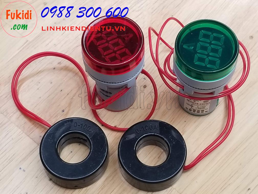 Đồng hồ đo dòng điện AC mini, tầm đo 0-100A, phi 22mm model AD16-22DSA