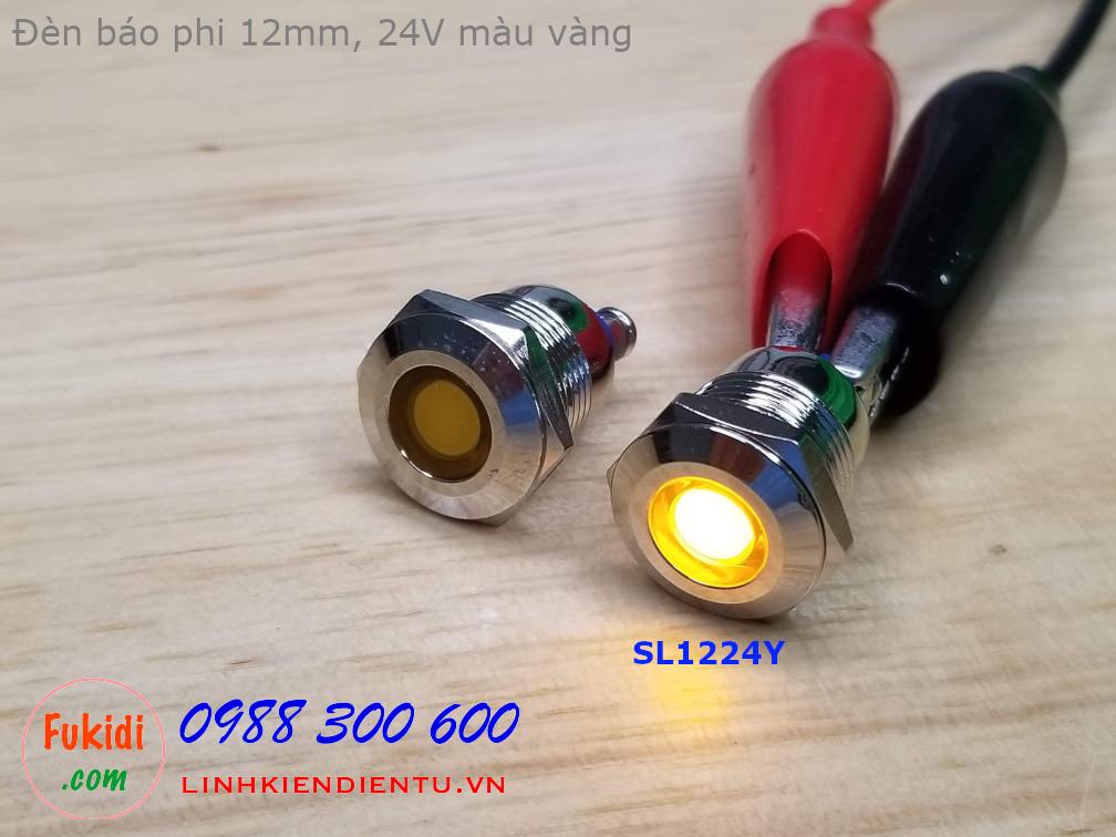 Đèn LED báo nguồn phi 12mm vỏ kim loại, 12-24V màu vàng SL1224Y