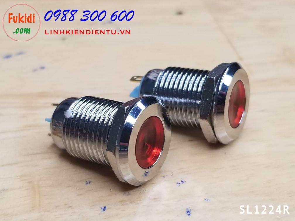 Đèn LED báo nguồn 24V, phi 12mm vỏ kim loại màu đỏ SL1224R