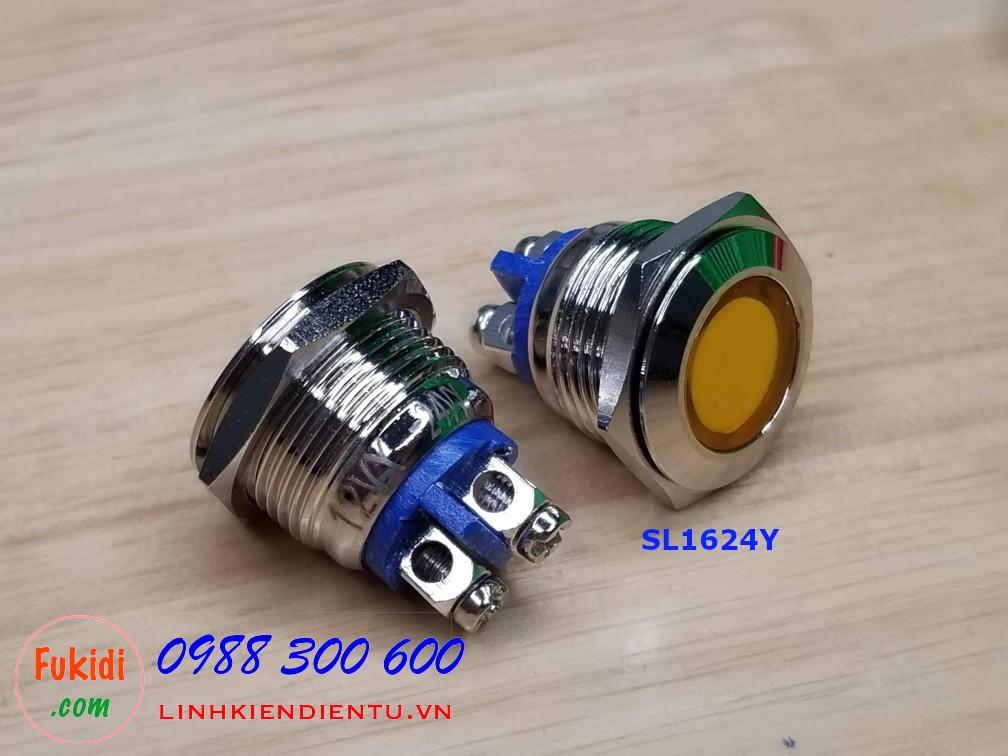 Đèn LED báo 24V phi 16mm vỏ kim loại màu vàng SL1624Y
