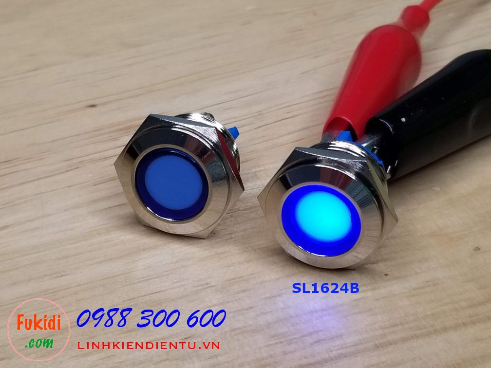 Đèn LED báo 24V phi 16mm vỏ kim loại màu xanh lục SL1624B
