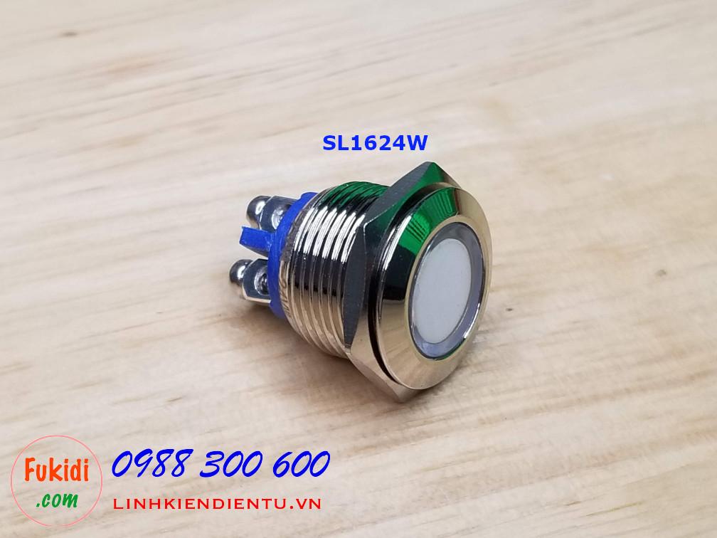 Đèn LED báo 24V phi 16mm vỏ kim loại màu trắng SL1624W