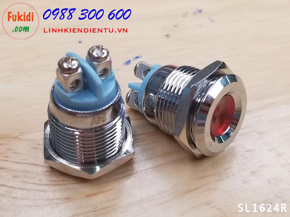 Đèn LED báo nguồn 24V, phi 16mm vỏ kim loại màu đỏ SL1624R