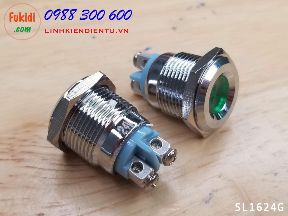 Đèn LED báo nguồn 24V, phi 16mm vỏ kim loại màu xanh lá SL1624G