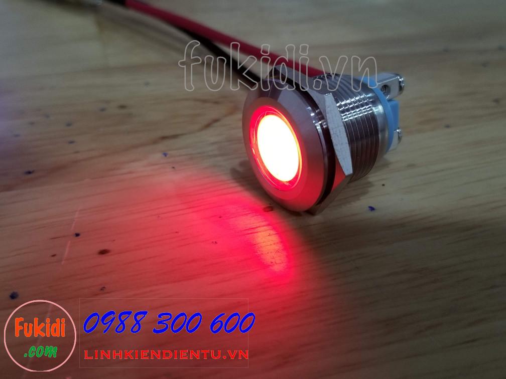 Đèn LED báo nguồn vỏ inox phi 19mm, điện áp 12-24V, màu đỏ SL1924R