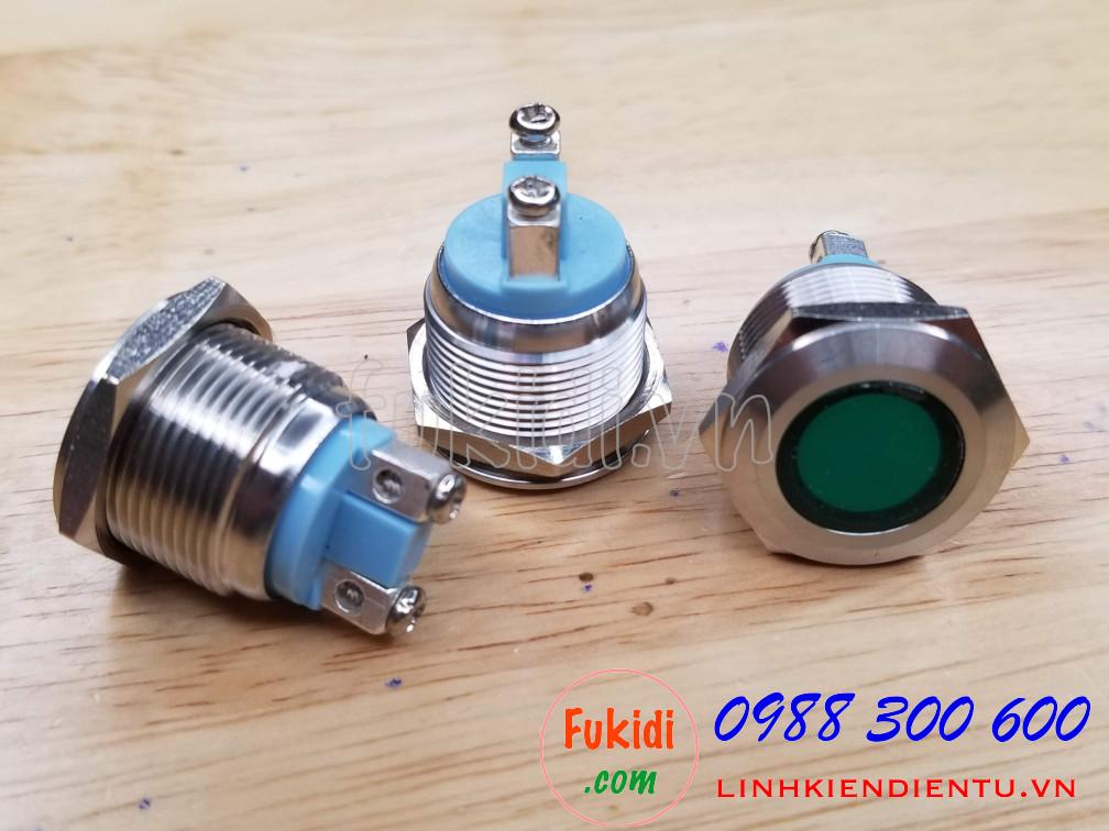 Đèn LED báo nguồn vỏ inox phi 19mm, điện áp 12-24V, màu xanh lá SL1924G